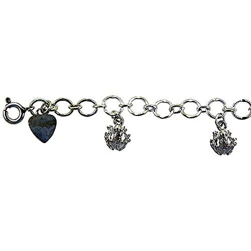 (Sterling Silver Frogs Anklet 15mm wide, fits 9 - 10 inch ankles)