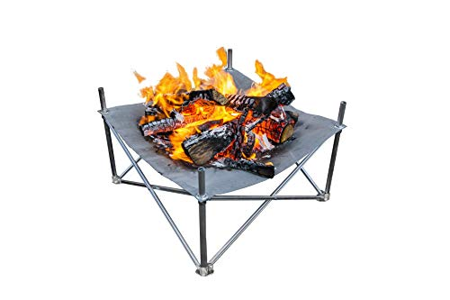 "Campfire Defender Protect Preserve Pop-Up Fire Pit - Portable 24""x24"" 8lbs. Never Rust Fire Pit - Burns with 80% Less Smoke - Heat Shield Optional for Leave No Trace Fires (Pop-Up Pit Ultralite) - The Pop-Up Fire Pit is the first truly portable fire pit. The Pop-Up Fire Pit Ultralite packs smaller than a camp chair and weighs just 4 lbs. Its patented design opens to an outstanding 24""x24"" fire pit, large enough to keep the whole party warm! This lightweight version does NOT contain the Ember Guards or the Heat Shield. Please do NOT use on sensitive ground areas or decks without heat protection. ENGINEERING SIMPLE - The Pop-Up Pit Ultralite sets-up in just under 30 seconds without the use of any tools and cools down in 60 seconds once your fire is extinguished. DOES NOT MEET FEDERAL REGULATIONS - This version of the Pop-Up Fire Pit will not pass BLM or US Forest Service Fire Pan Compliance Standards for fire pans. Add Ember Guards For BLM/USFS Compliance. PERFECT BURNS - Burning on a heavy-duty stainless steel alloy mesh means our fires get perfect airflow. Enjoy brighter, hotter fires with up to 80% less smoke - patio, outdoor-decor, fire-pits-outdoor-fireplaces - 41Mvcs3YR9L -"