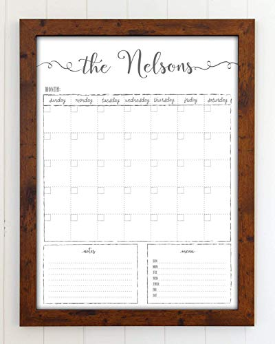 Dry Erase Calendar, Customized Whiteboard Framed Calendar, 18x24 Wall Calendar, Monthly Calendar, Family name Calendar, reusable calendar organizer, Command Center, Dry Erase Board
