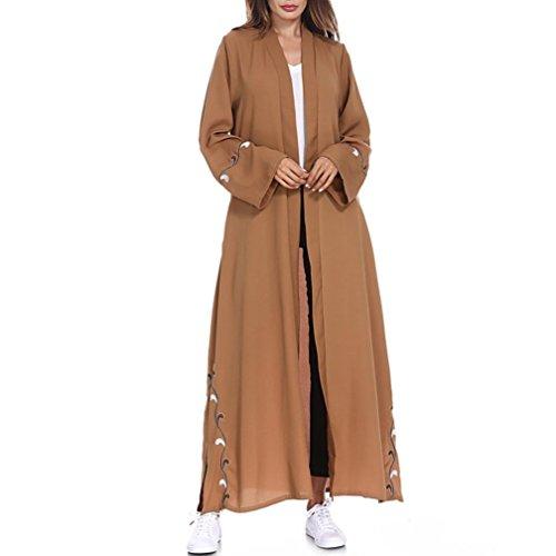 Sikye Women Kimono Turn-Down Collar Muslim Lace Trimmed Front Muslim Long Maxi Kaftan Cardigan (Coffee, M)