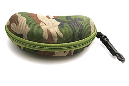 ColorViper Protective Hard or semi hard Shell Glasses Case for Eyeglasses and Sunglasses w/ Microfiber Cleaning Cloth - Choose Your size (large: zipper case w/ clip green - Camo Eyeglasses