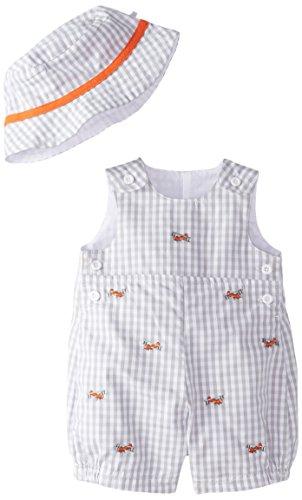 Little Me Baby-Boys Newborn Retro Check Sunsuit and Hat, Grey/Multi, 3 Months