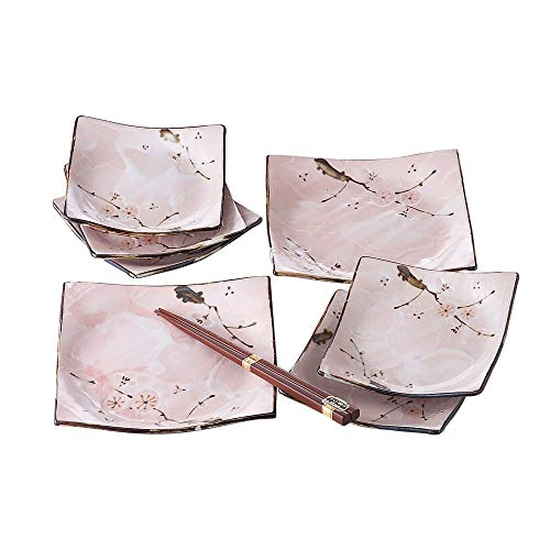 Minoyaki Sakura Pink Cherry Blossom Dinnerware Set (7 Plates and one pair Chopsticks) Made in Japan
