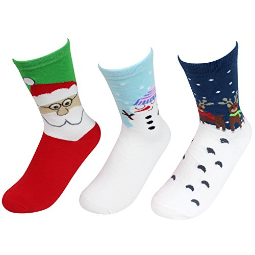 - KALAWALK 3 Pairs Women Christmas Lovely Pattern Colorful Cotton Screw Casual Socks (Set 2)
