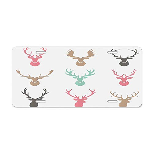 DIY LiEN Reindeer Antlers Illustration Hunt Countryside Jungle Nature Silhouette Art Pattern Car Licence Plate Covers Holders with Chrome Screw Caps for US Vehicles]()