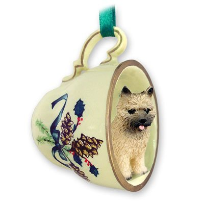 Cairn Terrier Green Holiday Tea Cup Dog Ornament - - Christmas Ornament Teacup Terrier