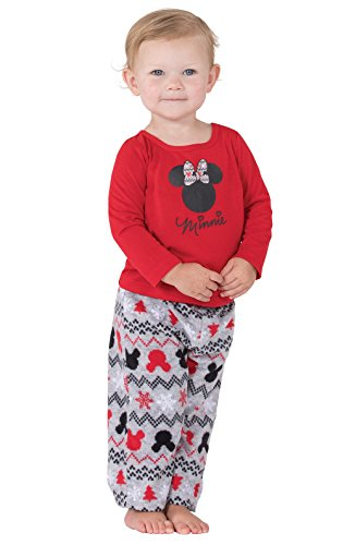 E-land Toddler Boys Long Sleeved - PajamaGram Officially Licensed Minnie Mouse Infant Girl's Pajamas, Red, 18 Month