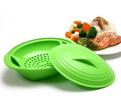 Norpro 32 oz Silicone 3 Piece Microwave Oven Steamer Fish Meat Vegetables #180
