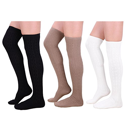 HDE 3 Pack Women's Stockings Solid Color Opaque Cable Knit Over The Knee Socks