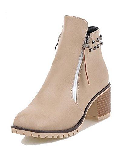 AgooLar Damen Rein PU Mittler Absatz Quadratisch Zehe Reißverschluss Stiefel, Cremefarben, 39