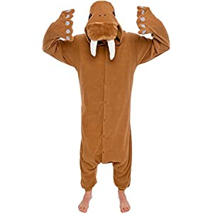Unisex Adult Animal Pajamas – Plush One Piece Halloween Walrus Animal Costume Silver Lilly