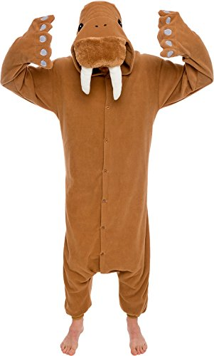 Silver Lilly Unisex Adult Pajamas - Plush One Piece Cosplay Walrus Animal Costume (Brown, -