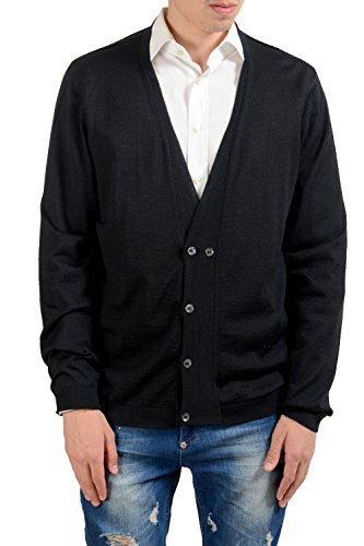 Fendi Men's Silk Cashmere Wool Black Cardigan Sweater US 2XL IT (Fendi Wool)