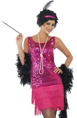 Smiffys Women's Fun time Flapper Costume, Dress, Headpiece and Necklace, 20's Razzle Dazzle, Serious Fun,Pink,Size 6-8, 22417 -