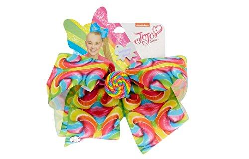 Claire's Girl's JoJo Siwa Large Rainbow Lollipop Swirl Hair Bow - Lollipop Hair Bows