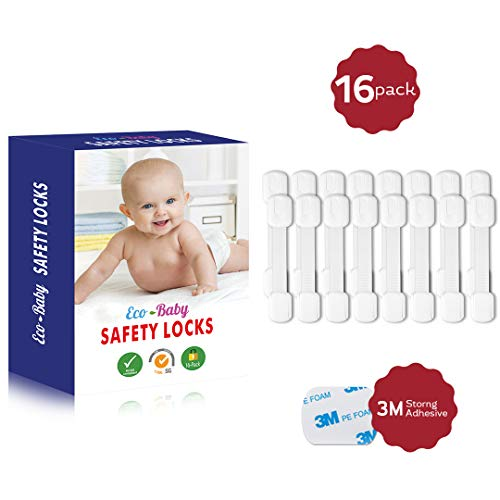 (Eco-Baby Child Safety Cabinet Locks,Drawers, Oven, Toilet Seat, Fridge and More | Multi-Purpose Use | No Tools Required | Super Strong 3M Adhesive with Adjustable Strap and Latch System (16-Pack))