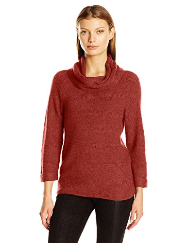 Nicole 3/4 Sleeve - Leo & Nicole Women's 3/4 Sleeve Cowl with Texture Pullover Sweater, Russet, Large