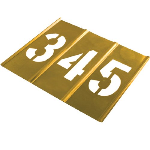Brass Number Stencil Set | 6 inch Font | 15 Pieces |Brass Paint Stencils for Labels, Wall Signs, and Pavement by stencil ease (Image #1)