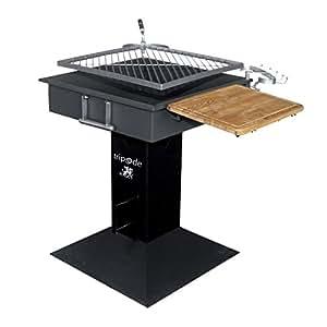 Barbecue a carbone struttura in acciaio griglia rotante e braciere 51x51 cm