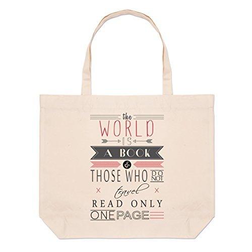 Il Mondo È Un Libro Che Dice Grande Borsa Da Spiaggia
