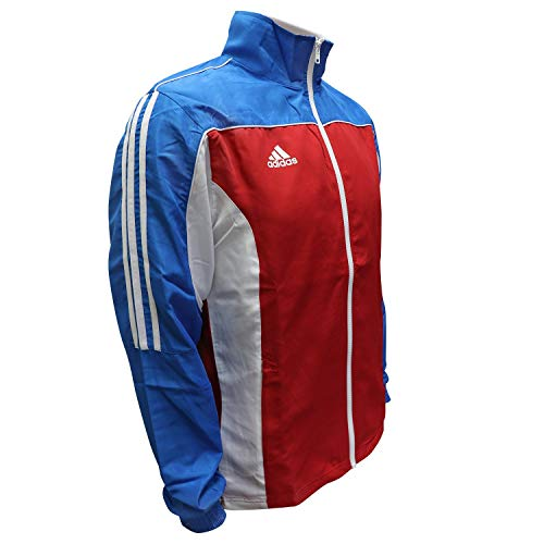 adidas Martial Arts 3-Stripes Light Tracksuit 100% Polyester Long Sleeve Jacket - Red White Blue - X-Large ()