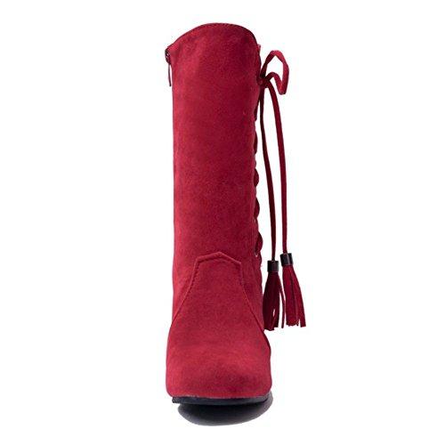 RAZAMAZA Damen Damen Stiefel Rot Reißverschluss Stiefel RAZAMAZA axgwTB