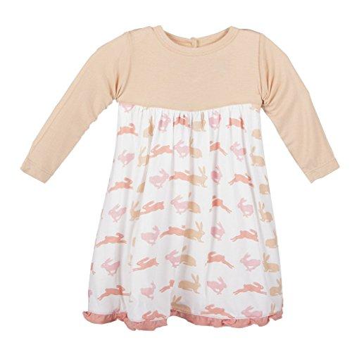 KicKee Pants Little Girl Long Sleeve Swing Dress, Girl Natural Hare, 3T by Kickee Pants