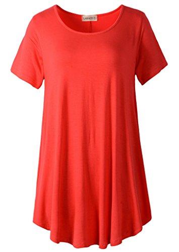 LARACE Women Short Sleeves Flare Tunic Tops for Leggings Flowy Shirt (2X, Red)