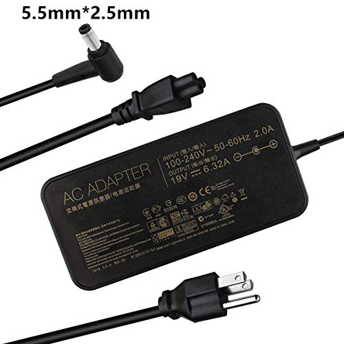 Slim 120W 19V 6.32A 5.5mm2.5mm Charger Laptop Power Adapter for ASUS VivoBook Pro Asus PA-1121-28/A15-120P1A/ADP-120RH B/ASUS ROG GL502VT/GL502V/GL502/GL502VT-DS71 by ETTECH