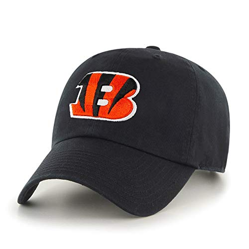 Black NFL Cincinnati Bengals Hat Sports Football Baseball Cap Embroidered Team Logo Athletic Games Clean Up Adjustable Cap/ Hat For Boys Kids Unisex Fan Gift Stylish Easy Strap Closure, Cotton Fabric