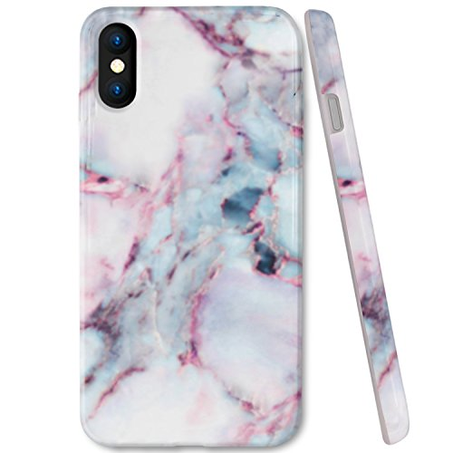 ZUSLAB Marble Pattern for Apple iPhone XS Case (2018) / iPhone X case (2017) Slim Shockproof Flexible TPU, Soft Rubber Silicone Skin Cover - Mint & Pink