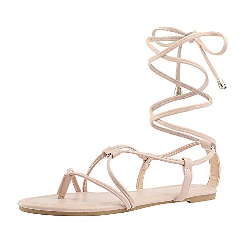 - DREAM PAIRS Women's Sammy_02 Nude Fashion Gladiator Design Lace Up Flat Sandals Size 8.5 M US