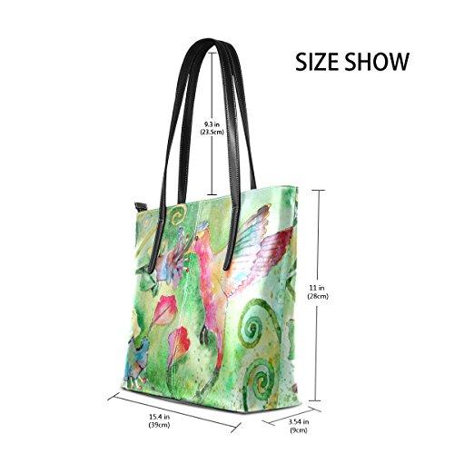 Flowers Satchel Women's Bennigiry Top Purse Tote Bags Hummingbird Handle Shoulder Handbags Large CwgwqxX