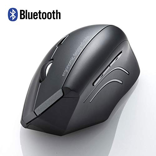 SANWA (Japan Brand) Bluetooth Vertical Ergonomic Mouse, Blue LED Optical Computer Mice, (800/1200/1600 DPI, 6 Buttons) Compatible with MacBook, Laptop, Windows Android Support iOS13 (for Large Hands)