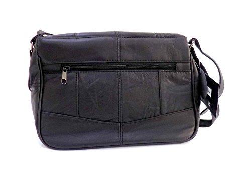 Lady s Black Leather Flapover Cross Body Shoulder Bag Handbag   Amazon.co.uk  Shoes   Bags 9b3174a97ce69