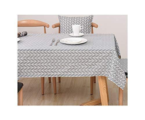 SunnyWarm Geo Decorative Linen Wateroof Oilproof Thick Rectangular Wedding Dining Table Cover Tea Table Cloth,5,140X140Cm