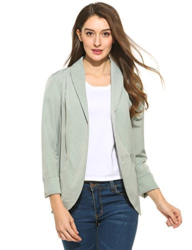 Zeagoo Women's Casual Rolled Up Sleeve Blazer Jacket, Green, X-Large (Jacket Sleeve Rolled)