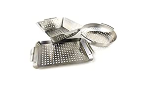 Yukon Glory Premium Grilling Basket Set of 3 Baskets Durable Stainless Steel