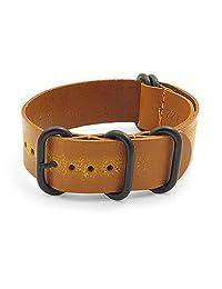 StrapsCo 24mm Tan Distressed Vintage Style Leather G10 Nato Zulu Watch Strap w/ Black Rings