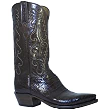 Men's Lucchese Classic Cowboy Boot E2144.54 Sienna Caiman Ultra Belly Hand-Made Antique Brown