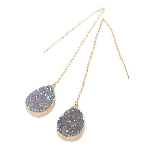 ZENGORI Gold Plated Teardrop Titanium Blue Druzy Ear Threader Dangle Earrings 3.5
