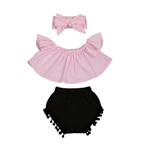 Happy Town Cute Baby Girls Short Sleeve Blouse Tube Top+High Waist Pom Pom Short Pants (Pink, 6-12 Months) -