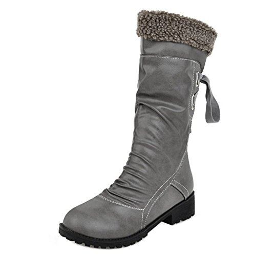 COOLCEPT Women Boots Pull On Warm Lined Gray-H p2kQt29