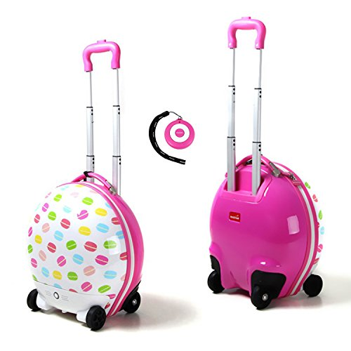 Kids Luggage RC Remote Control Walking Suitcase Compact Pink French Macaroons Designed for Children - Perfect for Toddlers and Kids Traveling by Transformania Toys