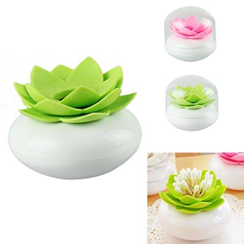 HP95(TM)Hot Chic Lotus Flower Cotton Bud Holder Toothpick Case Cotton Swab Box Vase Home Decor (Green)