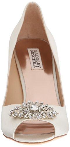 Pump Embellished Satin Heel Ivory Accent Mischka Peep Women's Toe Badgley qZApg
