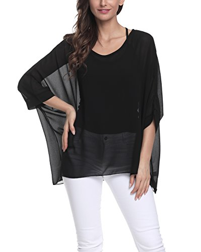 Chiffon Poncho Cover - Vanbuy Women Summer Floral Printed Batwing Sleeve Top Chiffon Poncho Casual Loose Blouse Z91-4305