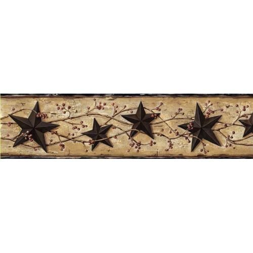 Chesapeake CTR65362B June Black Heritage Tin Star Wallpaper Border