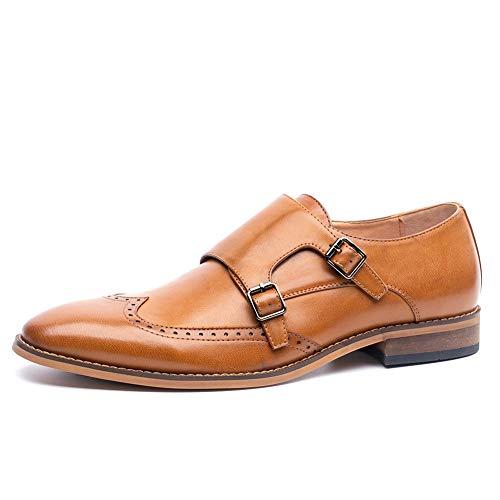 (Men's Brown Double Monk Strap Casual Oxford Shoes(8(D,M) US,Brown))