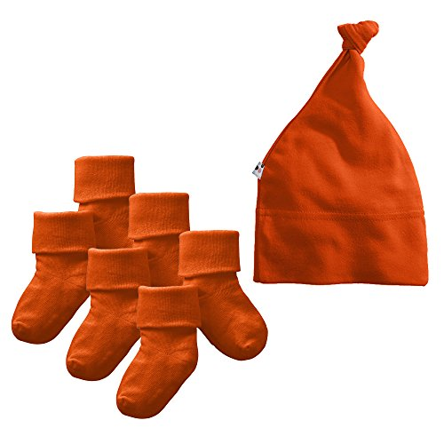 Babysoy Eco Beanie and Socks Set (0-6 Months, (Persimmon Accessories)